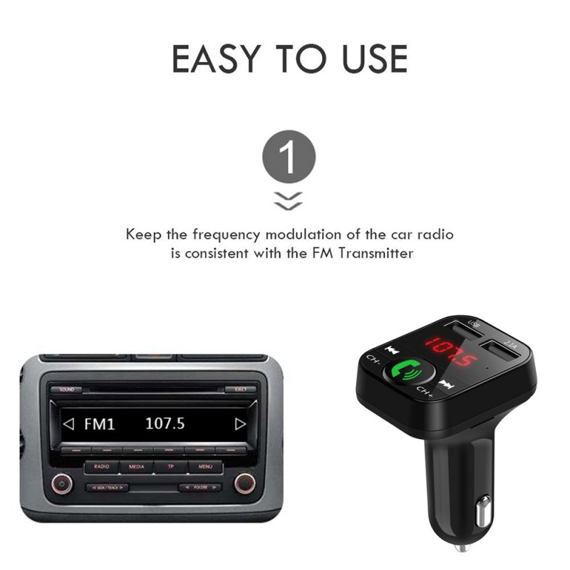Car Wireless Bluetooth FM Transmitters MP3 Hands-free LCD Screen 2 USB Chargers - $7.94