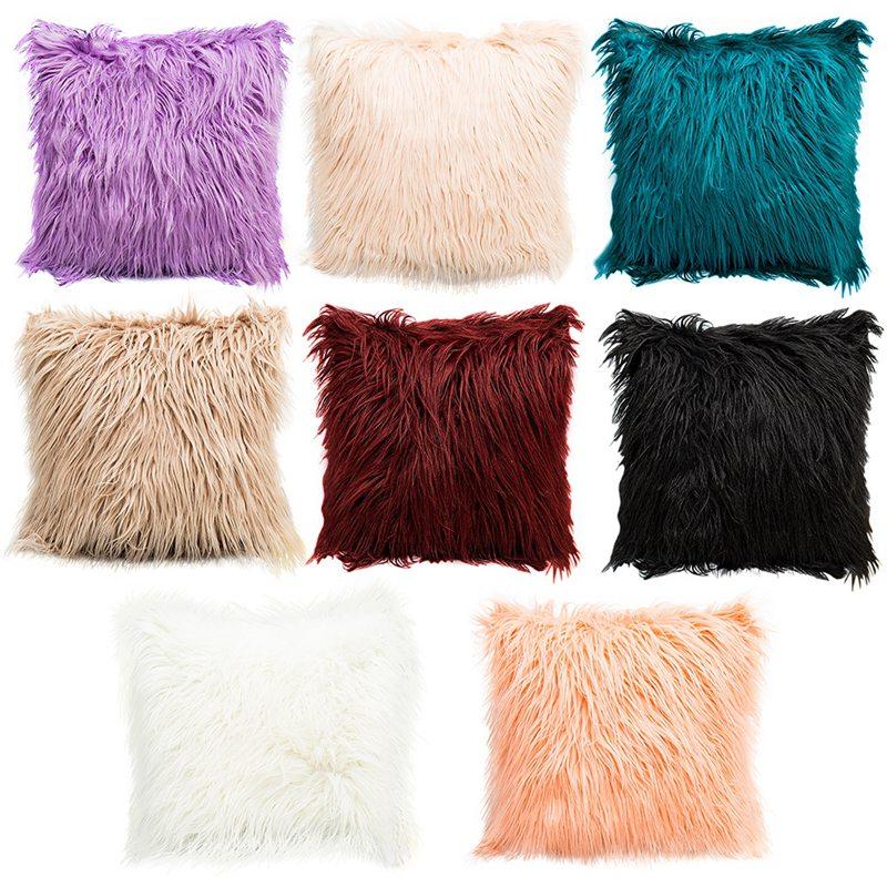 Throw Pillow Case Faux Fur Fluffy Plush Sofa Bed Cushion Cov