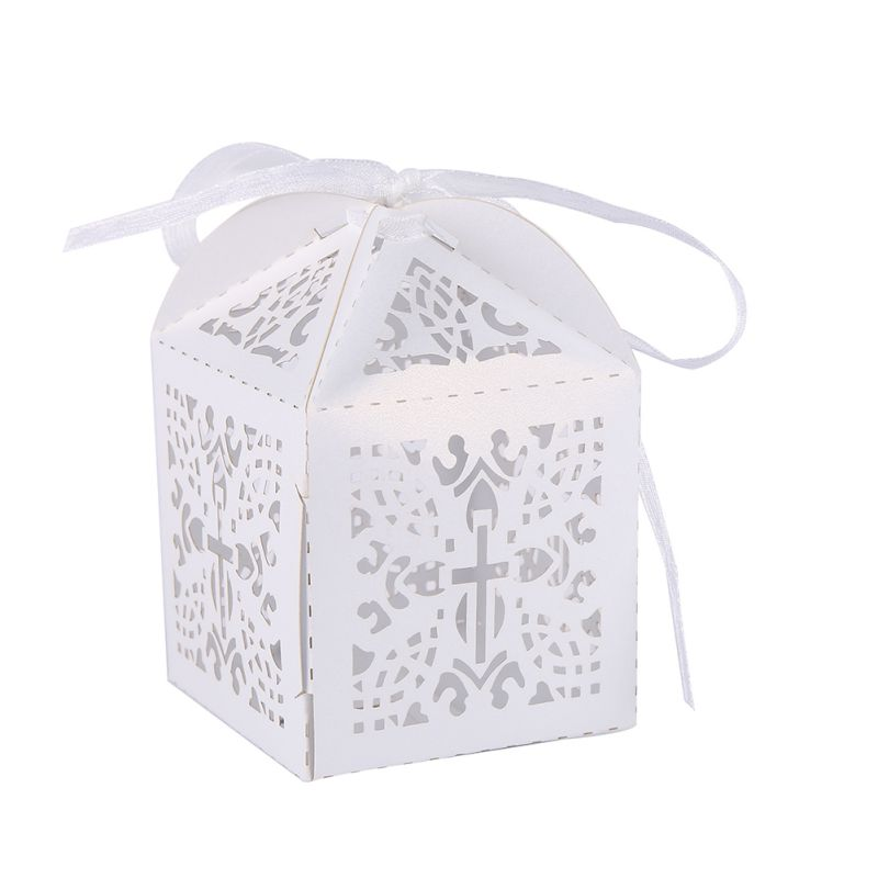 With Ribbon Diy 10 Pcs Cross Laser Cut Wedding Party Favor Candy
