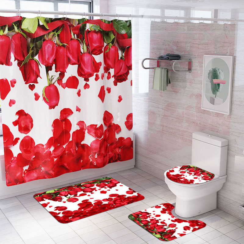 Red-Rose-Waterproof-Non-Slip-Bathroom-Shower-Curtain-Toilet-Cover-Mat-Rug-Set thumbnail 13