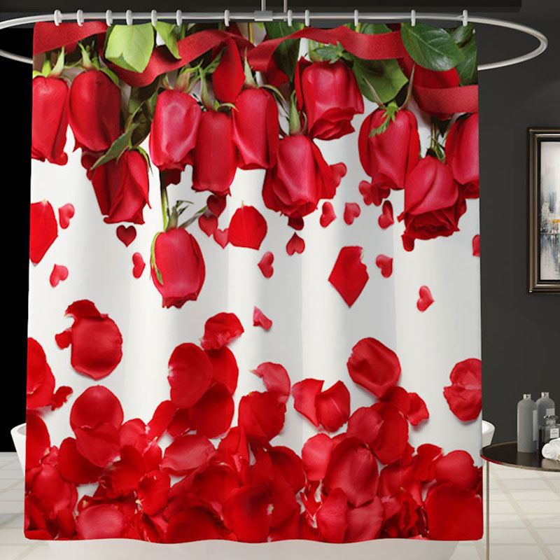 Red-Rose-Waterproof-Non-Slip-Bathroom-Shower-Curtain-Toilet-Cover-Mat-Rug-Set thumbnail 14