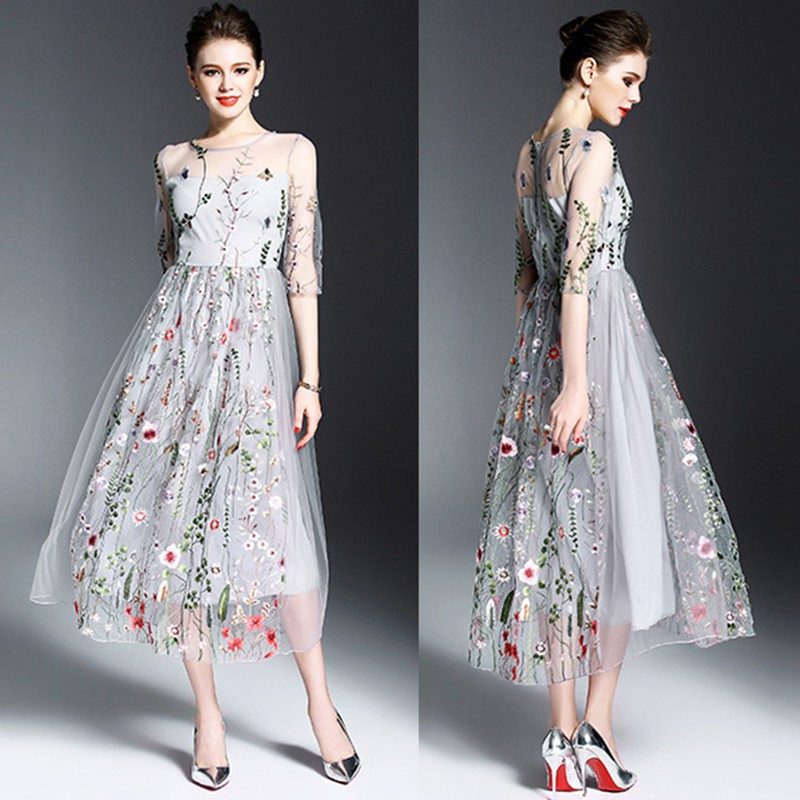 Women Summer Mesh Floral Embroidery Short Sleeve Dress Party ...