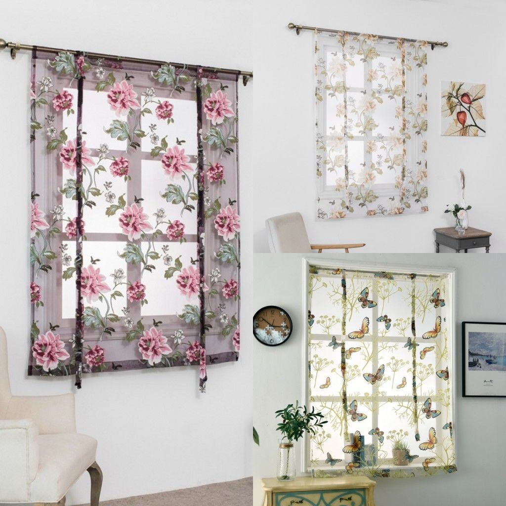 Tulle Rod Kitchen Bathroom Window Roman Home Curtain Floral