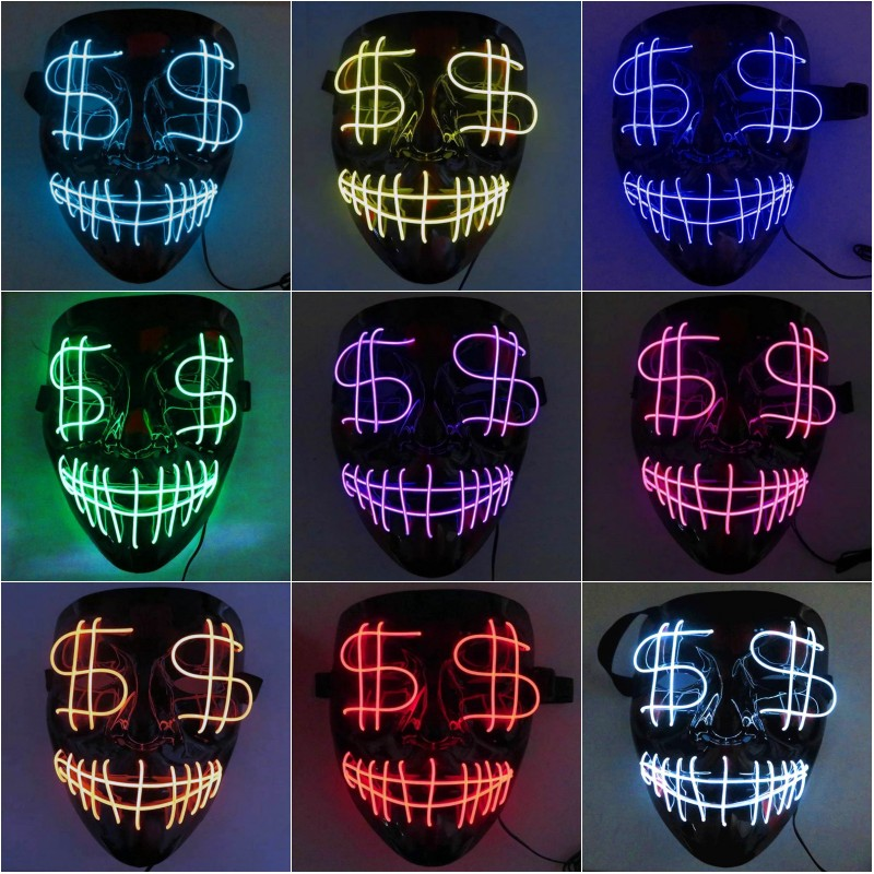 Halloween Scary Mask LED Costume Mask EL Wire Light Up Cospl