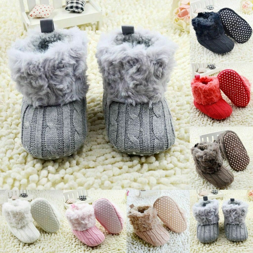 Newborn Baby Girl Winter Cotton Knit Fleece Snow Boots Warm