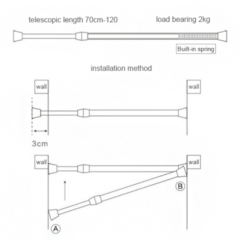 1x Heavy-Duty Tension Curtain Rod Spring Load Adjustable Extendable Curtain Pole